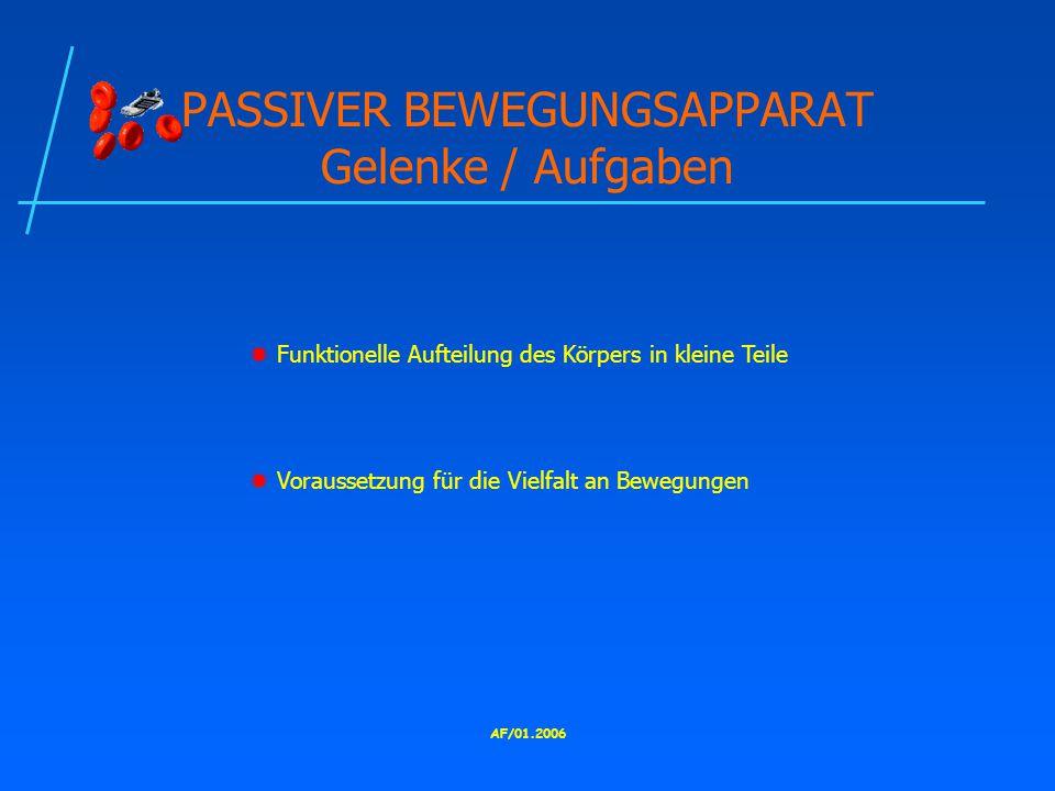 PASSIVER BEWEGUNGSAPPARAT Gelenke / Aufgaben