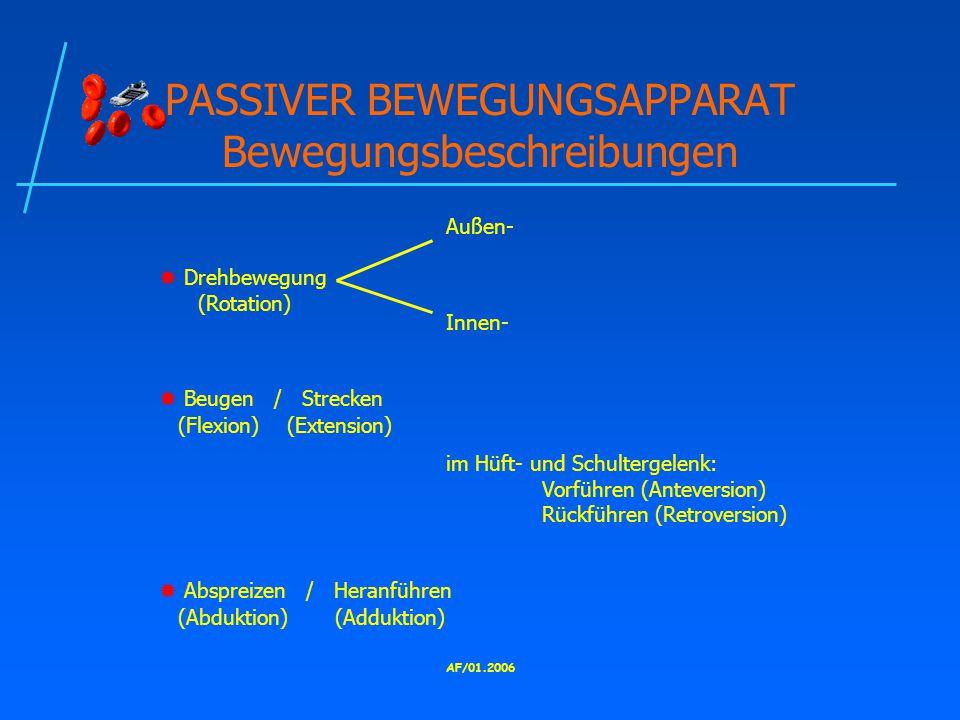 PASSIVER BEWEGUNGSAPPARAT Bewegungsbeschreibungen