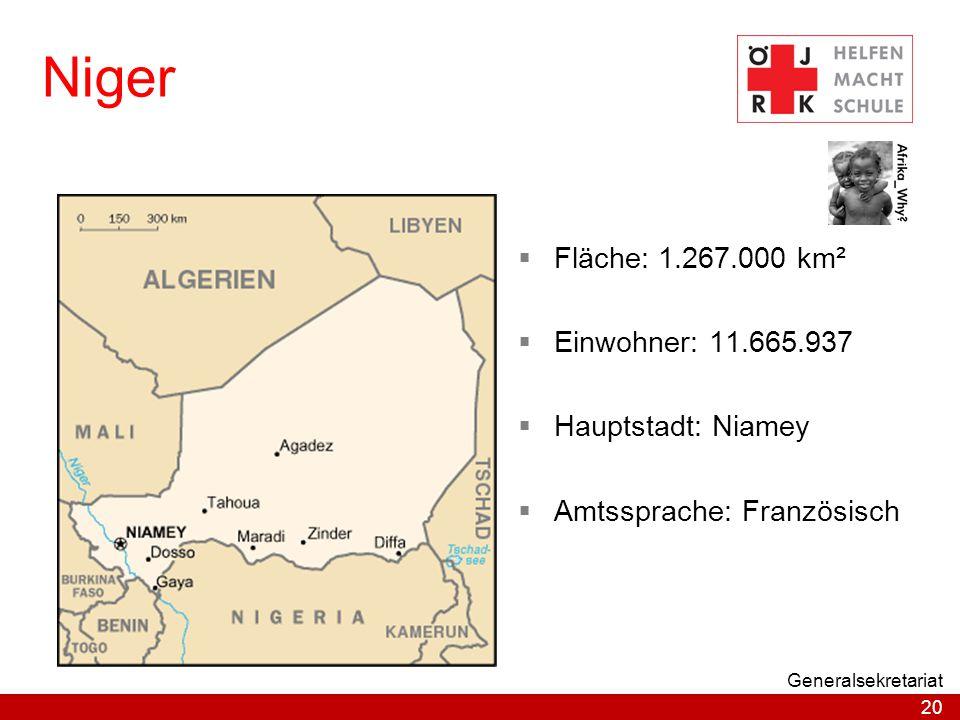 Niger Fläche: 1.267.000 km² Einwohner: 11.665.937 Hauptstadt: Niamey