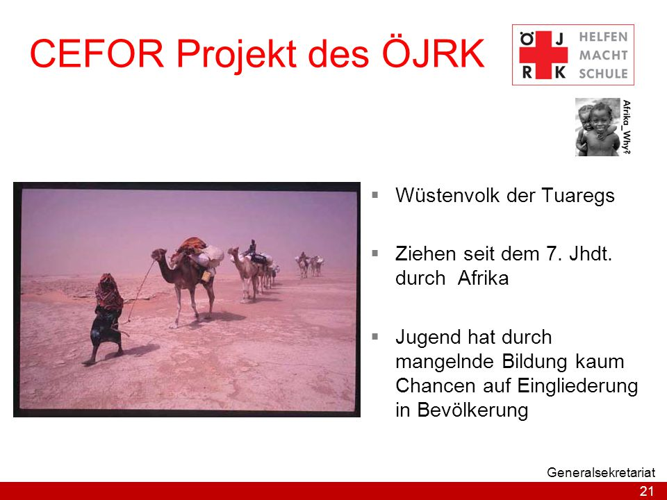 CEFOR Projekt des ÖJRK Wüstenvolk der Tuaregs