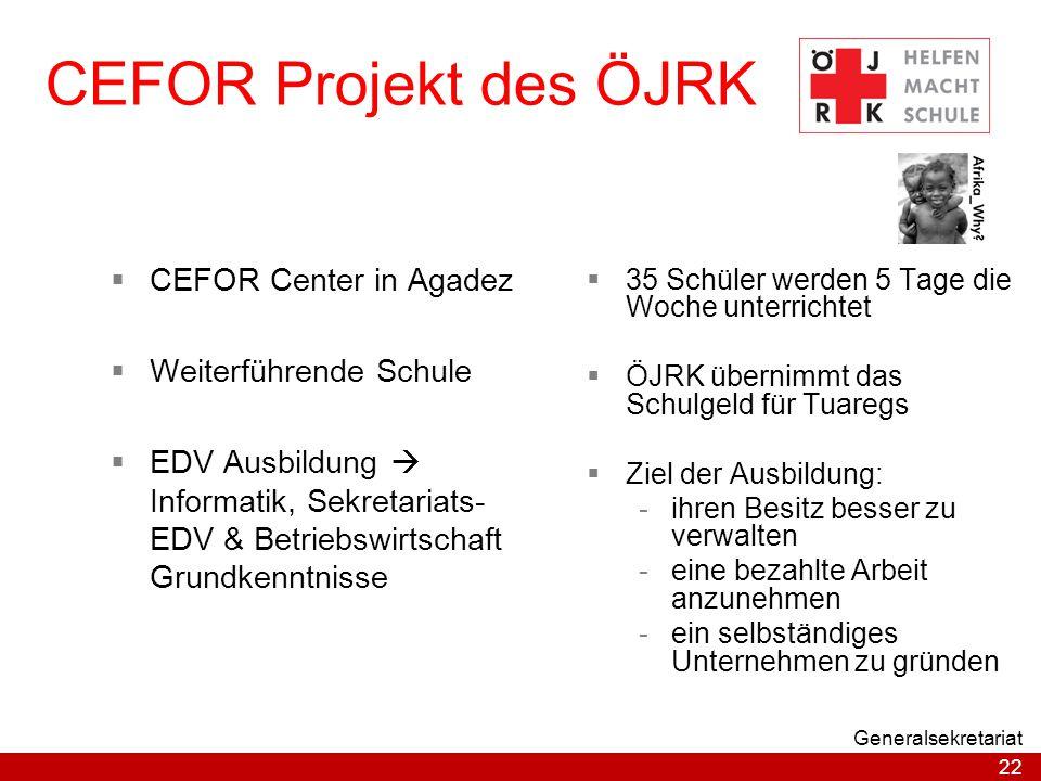 CEFOR Projekt des ÖJRK CEFOR Center in Agadez Weiterführende Schule