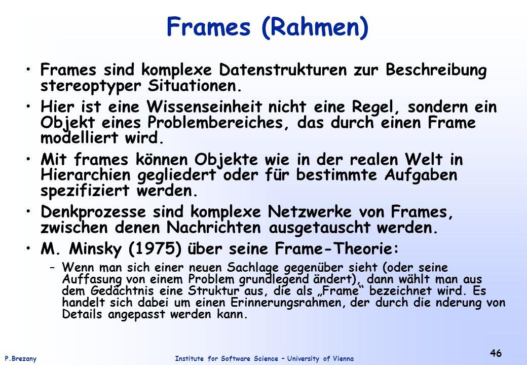 Frames (Rahmen) Frames sind komplexe Datenstrukturen zur Beschreibung stereoptyper Situationen.