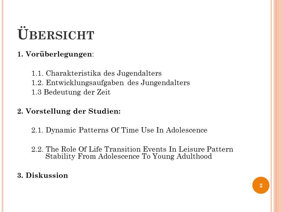 Übersicht 1. Vorüberlegungen: 1.1. Charakteristika des Jugendalters