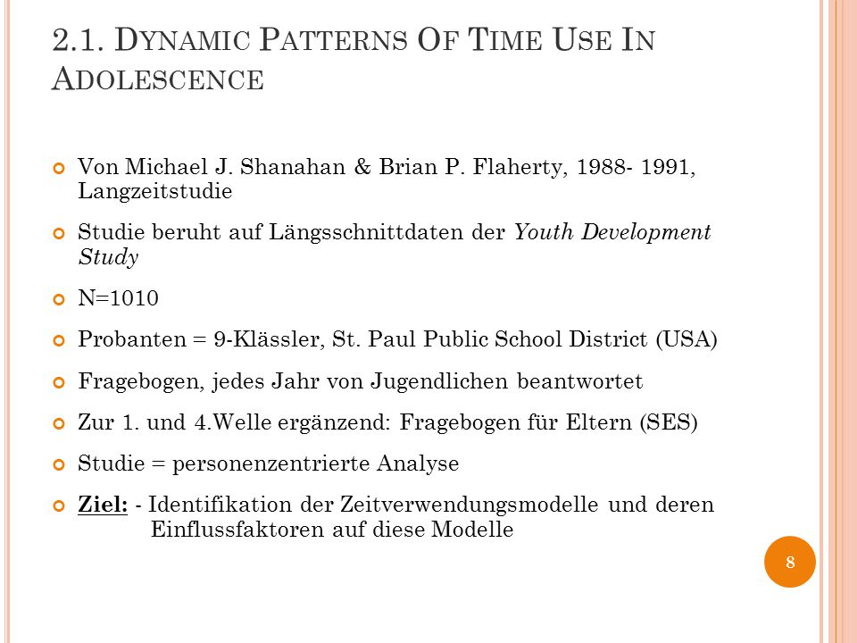 2.1. Dynamic Patterns Of Time Use In Adolescence