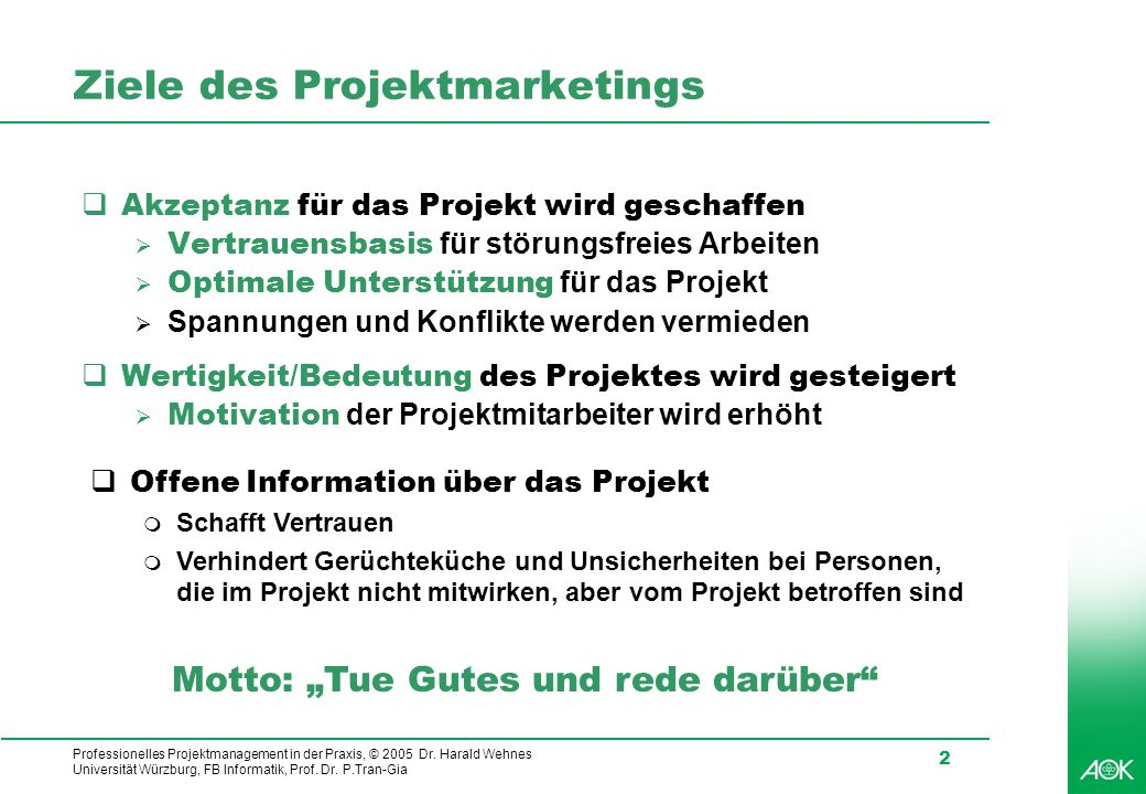Ziele des Projektmarketings