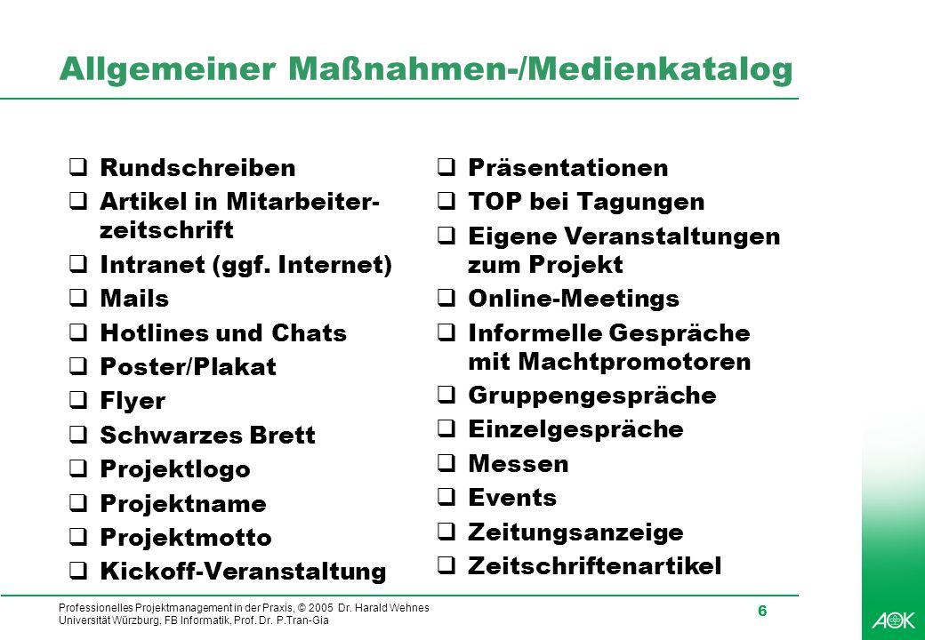 Allgemeiner Maßnahmen-/Medienkatalog