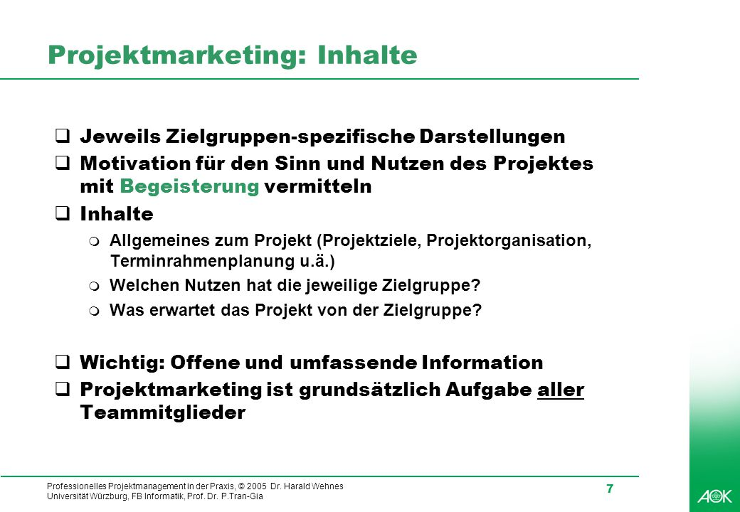 Projektmarketing: Inhalte
