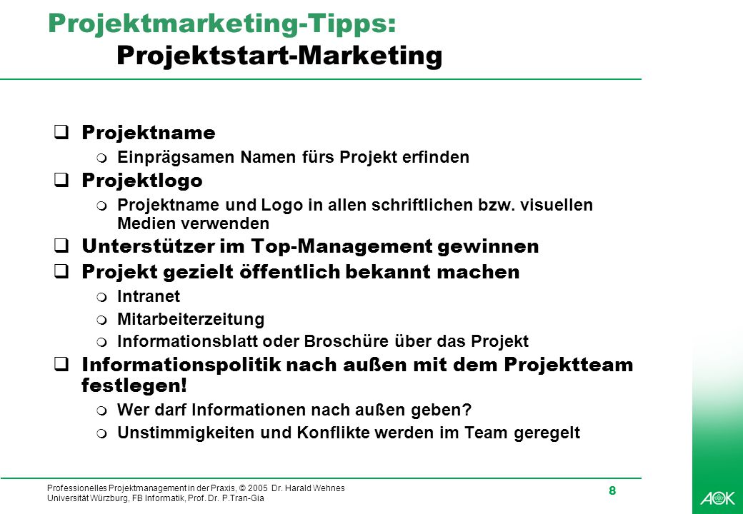 Projektmarketing-Tipps: Projektstart-Marketing