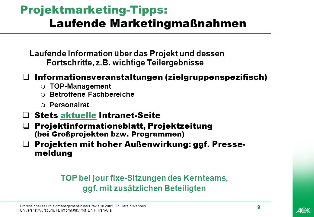 Projektmarketing-Tipps: Laufende Marketingmaßnahmen