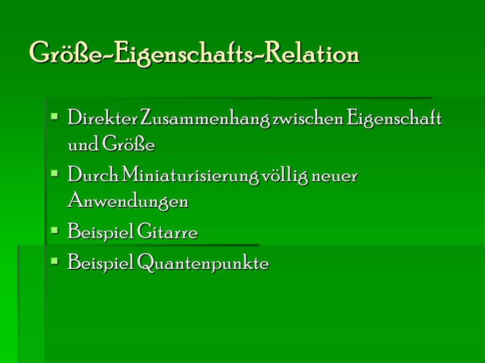 Größe-Eigenschafts-Relation
