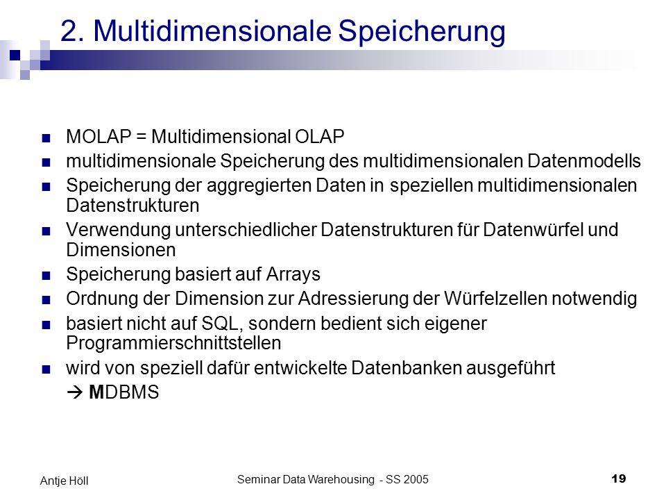 2. Multidimensionale Speicherung