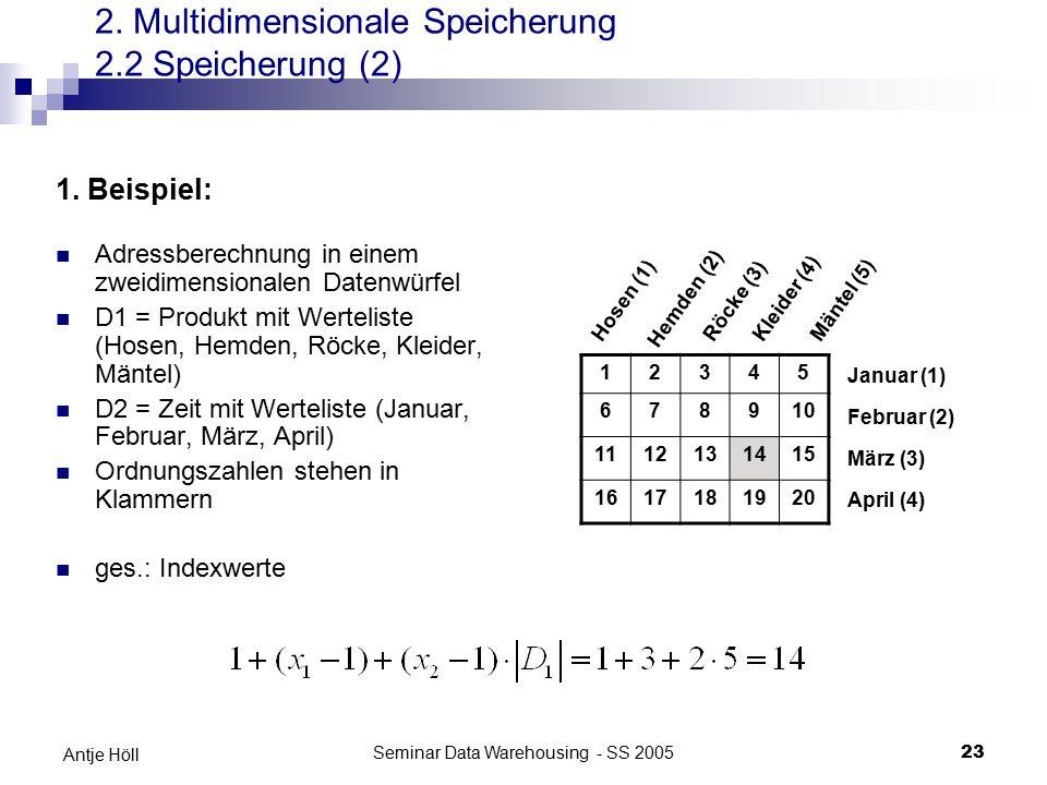 2. Multidimensionale Speicherung 2.2 Speicherung (2)