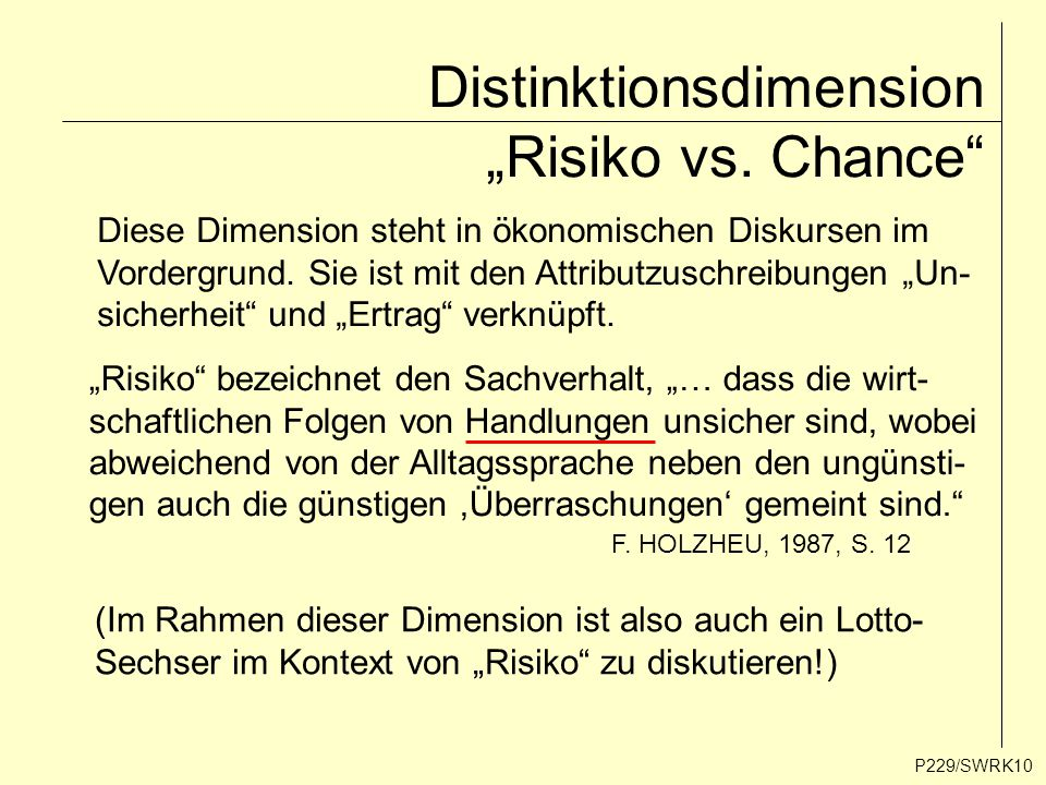"Distinktionsdimension ""Risiko vs. Chance"