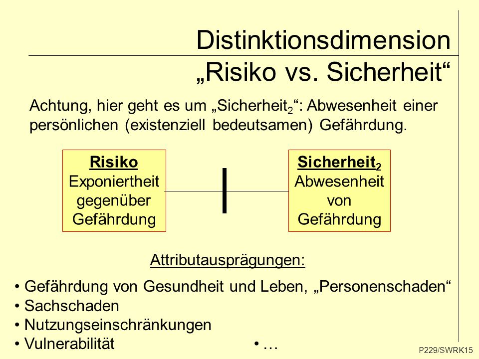 "Distinktionsdimension ""Risiko vs. Sicherheit"