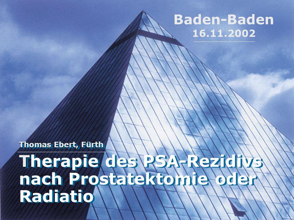Therapie des PSA-Rezidivs nach Prostatektomie oder Radiatio