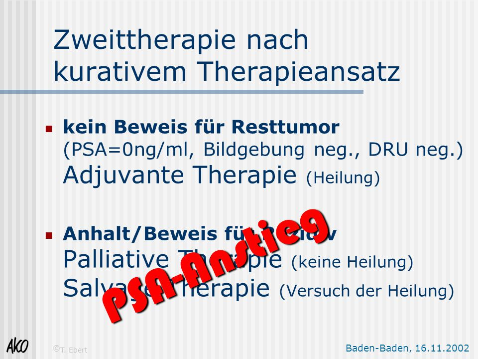 Zweittherapie nach kurativem Therapieansatz