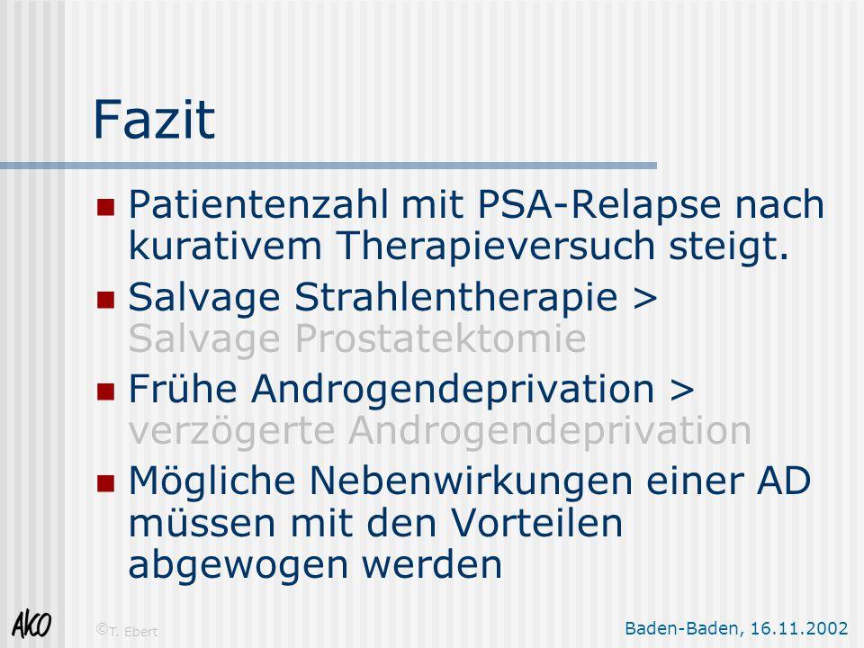 Fazit Patientenzahl mit PSA-Relapse nach kurativem Therapieversuch steigt. Salvage Strahlentherapie > Salvage Prostatektomie.