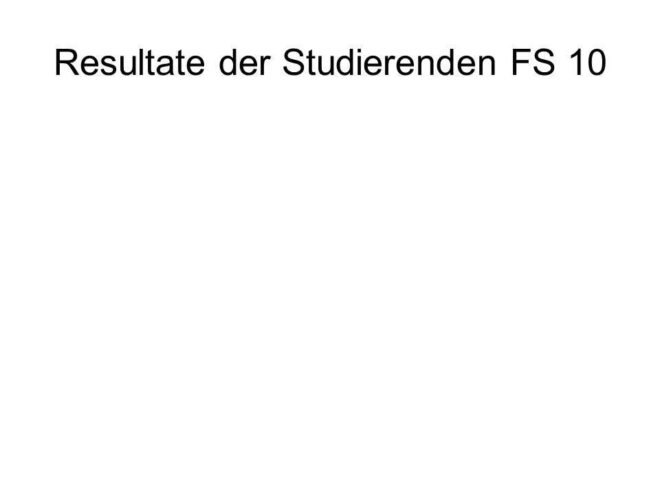 Resultate der Studierenden FS 10