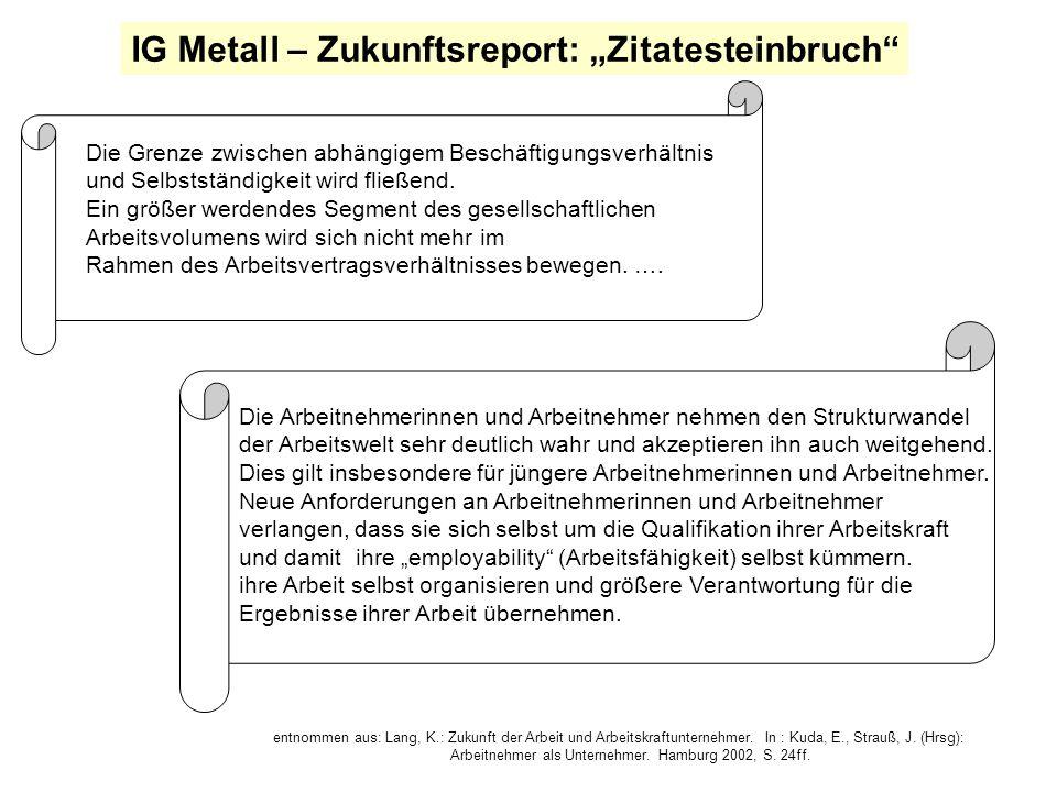 """IG Metall – Zukunftsreport: """"Zitatesteinbruch"""