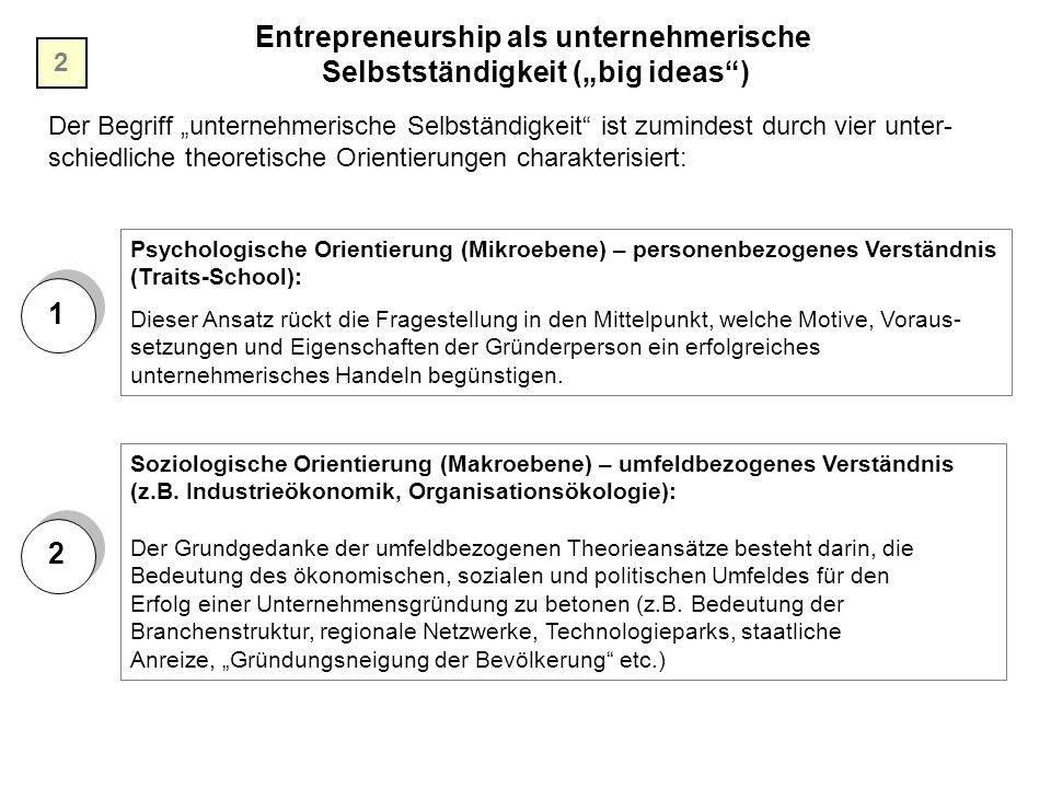 """Entrepreneurship als unternehmerische Selbstständigkeit (""""big ideas )"""