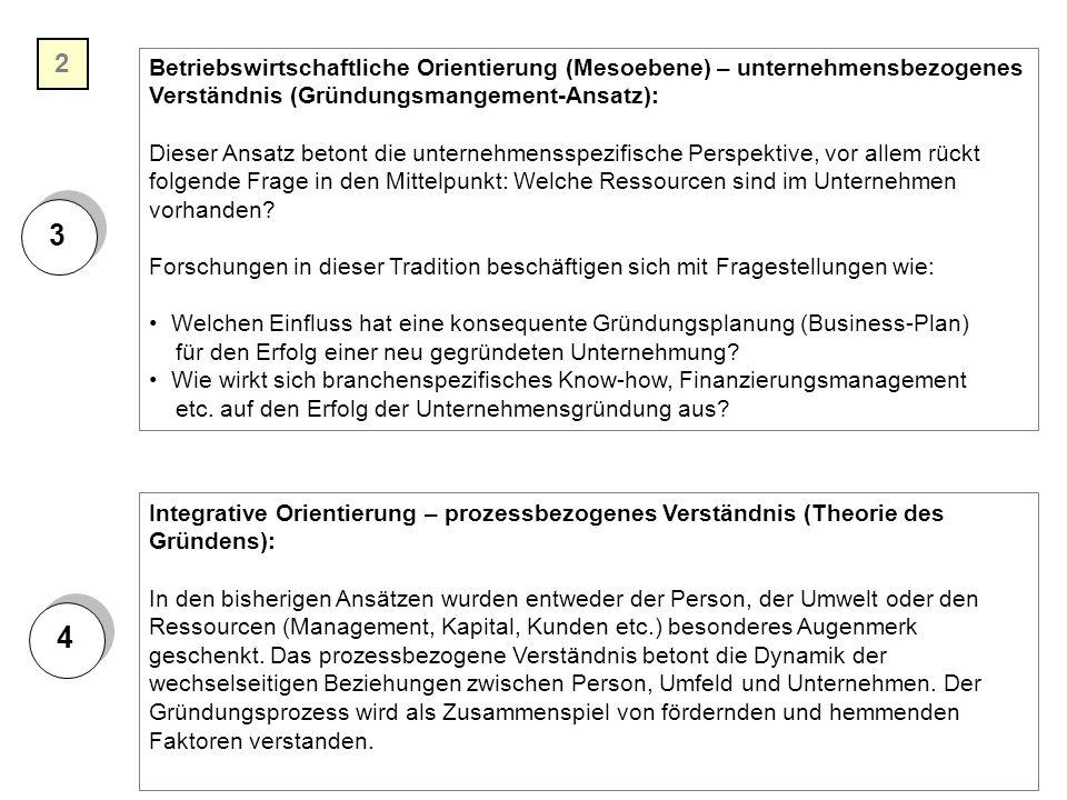 2 3. Betriebswirtschaftliche Orientierung (Mesoebene) – unternehmensbezogenes. Verständnis (Gründungsmangement-Ansatz):