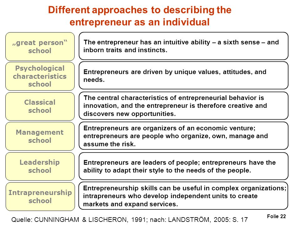 Different approaches to describing the entrepreneur as an individual
