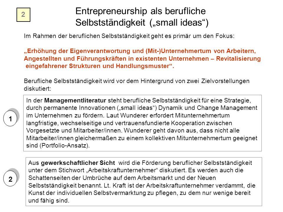 """Entrepreneurship als berufliche Selbstständigkeit (""""small ideas )"""