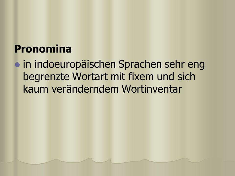 Pronomina in indoeuropäischen Sprachen sehr eng begrenzte Wortart mit fixem und sich kaum veränderndem Wortinventar.