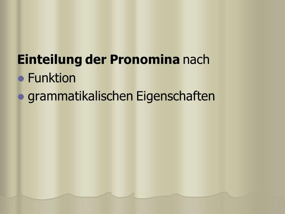 Einteilung der Pronomina nach