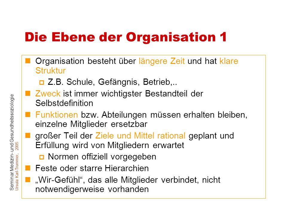 Die Ebene der Organisation 1