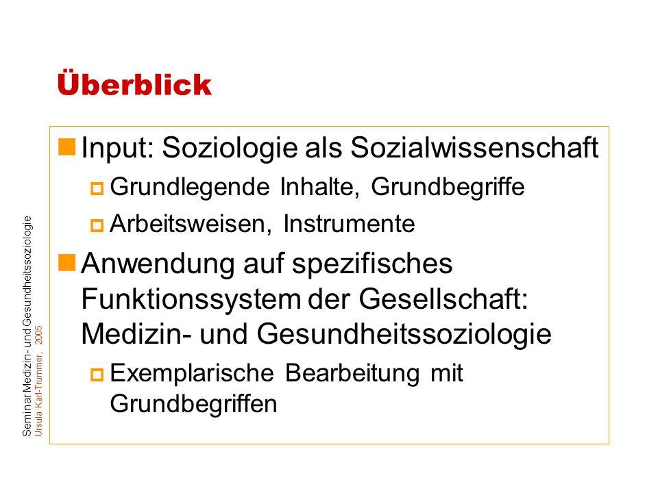 Input: Soziologie als Sozialwissenschaft
