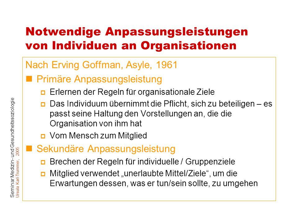 Notwendige Anpassungsleistungen von Individuen an Organisationen