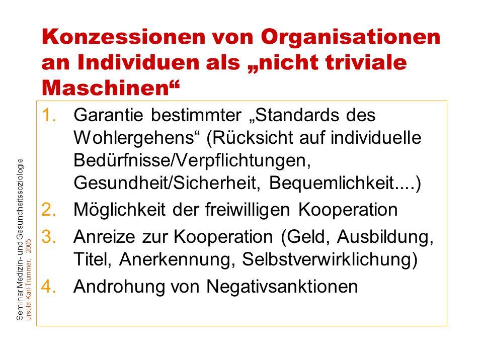 """Konzessionen von Organisationen an Individuen als """"nicht triviale Maschinen"""