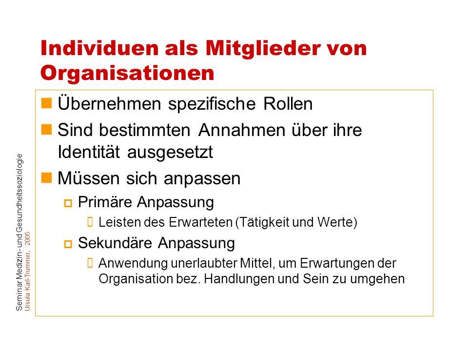 Individuen als Mitglieder von Organisationen