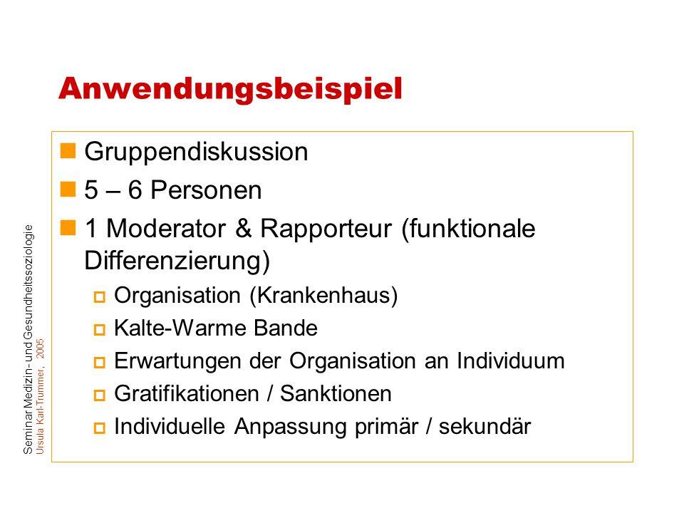 Anwendungsbeispiel Gruppendiskussion 5 – 6 Personen
