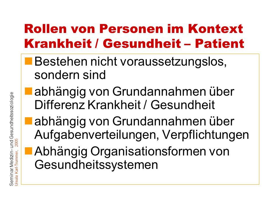 Rollen von Personen im Kontext Krankheit / Gesundheit – Patient