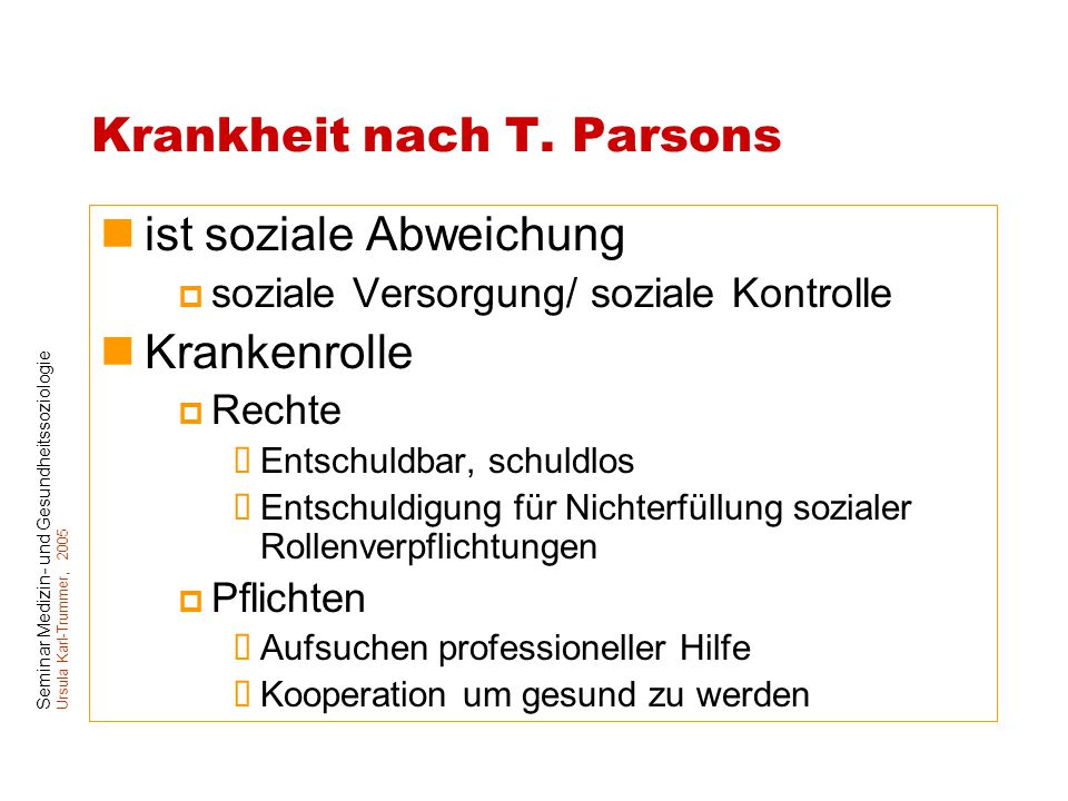 Krankheit nach T. Parsons