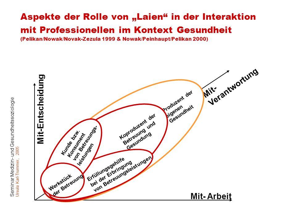"""Aspekte der Rolle von """"Laien in der Interaktion mit Professionellen im Kontext Gesundheit (Pelikan/Nowak/Novak-Zezula 1999 & Nowak/Peinhaupt/Pelikan 2000)"""