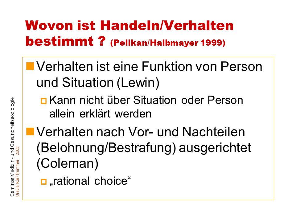 Wovon ist Handeln/Verhalten bestimmt (Pelikan/Halbmayer 1999)
