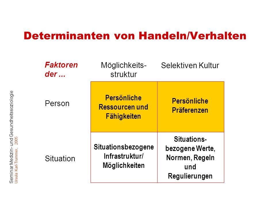 Determinanten von Handeln/Verhalten
