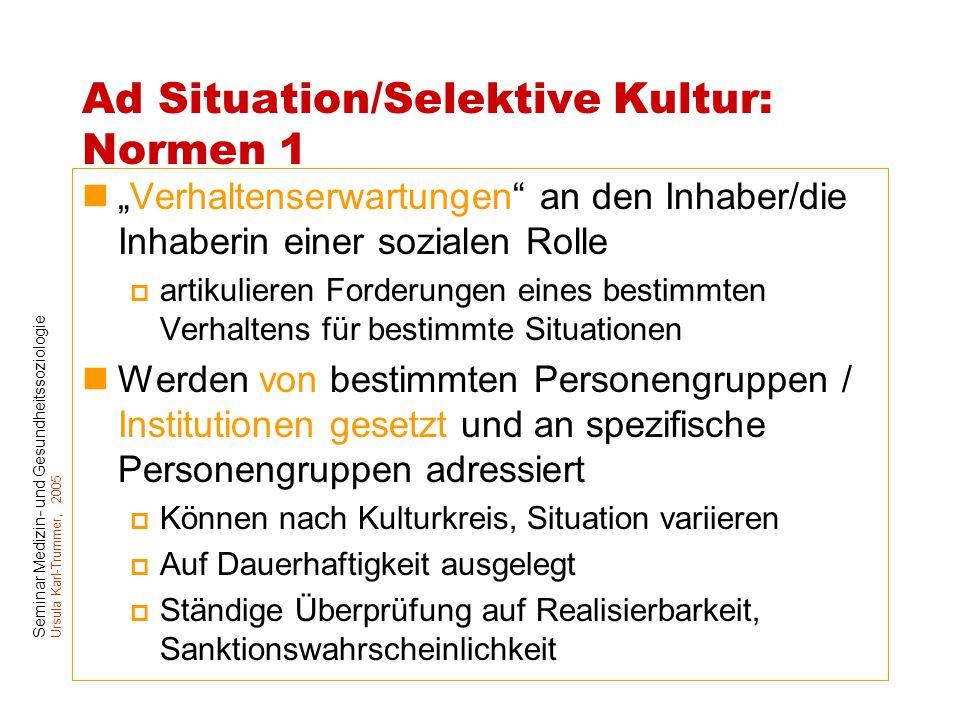 Ad Situation/Selektive Kultur: Normen 1