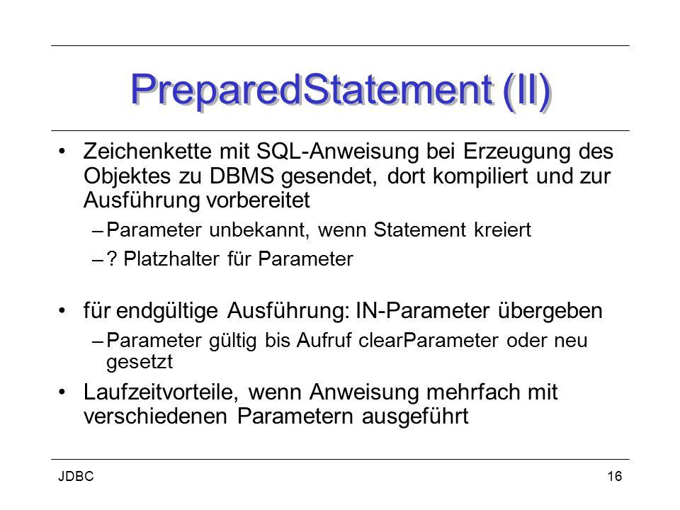 PreparedStatement (II)