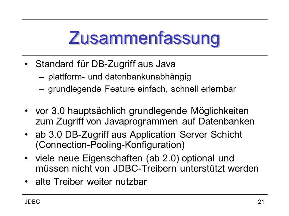 Zusammenfassung Standard für DB-Zugriff aus Java