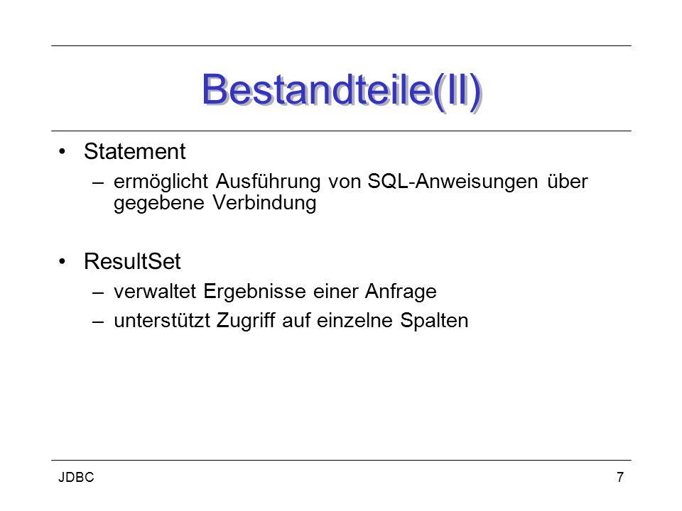 Bestandteile(II) Statement ResultSet