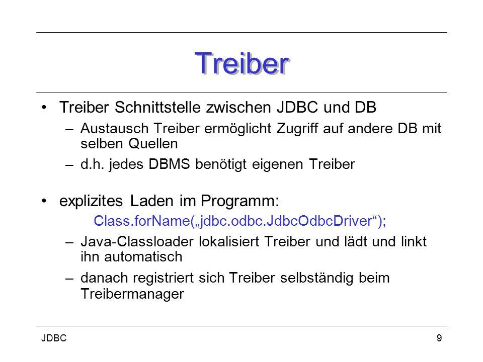 Treiber Treiber Schnittstelle zwischen JDBC und DB