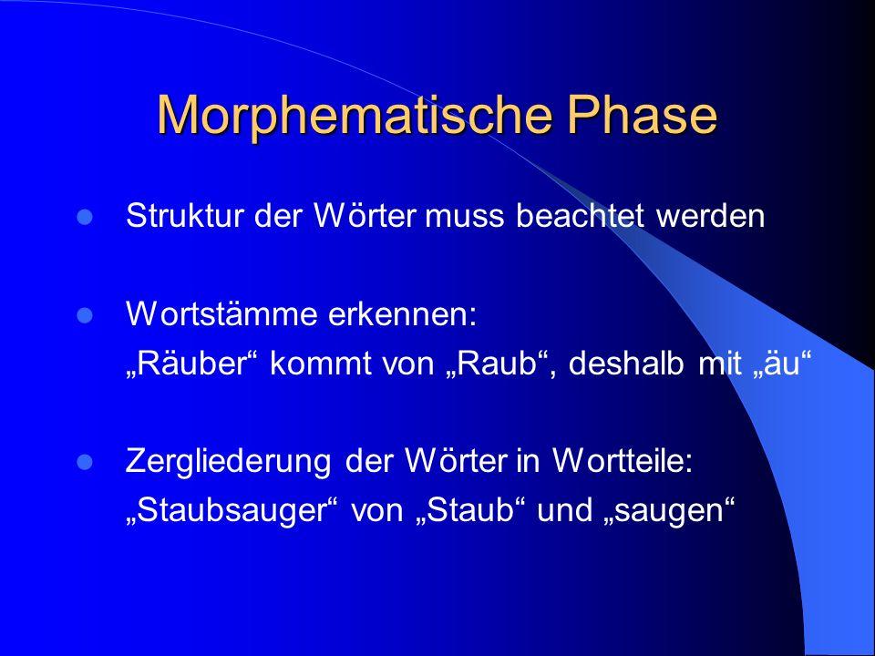 Morphematische Phase Struktur der Wörter muss beachtet werden
