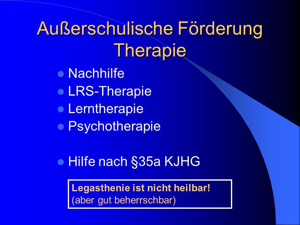 Außerschulische Förderung Therapie