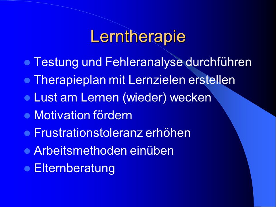 Lerntherapie Testung und Fehleranalyse durchführen