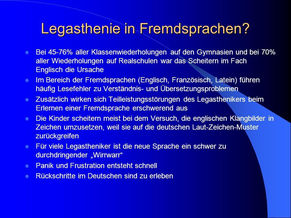 Legasthenie in Fremdsprachen