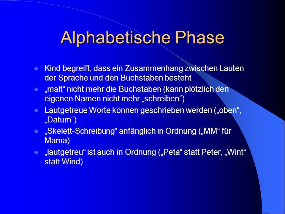 Alphabetische Phase Kind begreift, dass ein Zusammenhang zwischen Lauten der Sprache und den Buchstaben besteht.